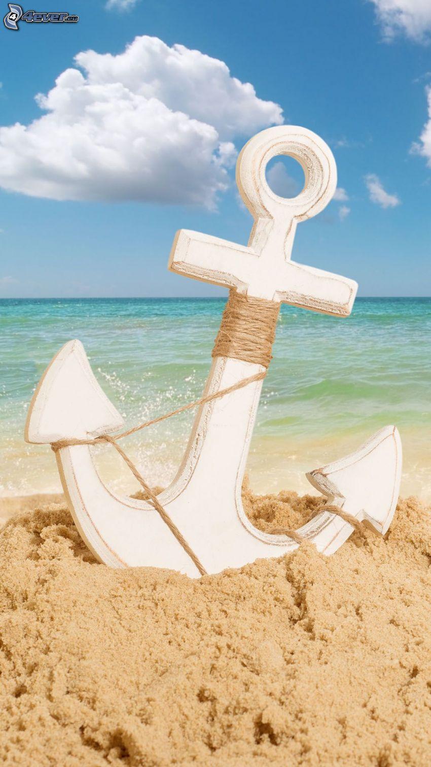 ankare, sand, öppet hav, moln