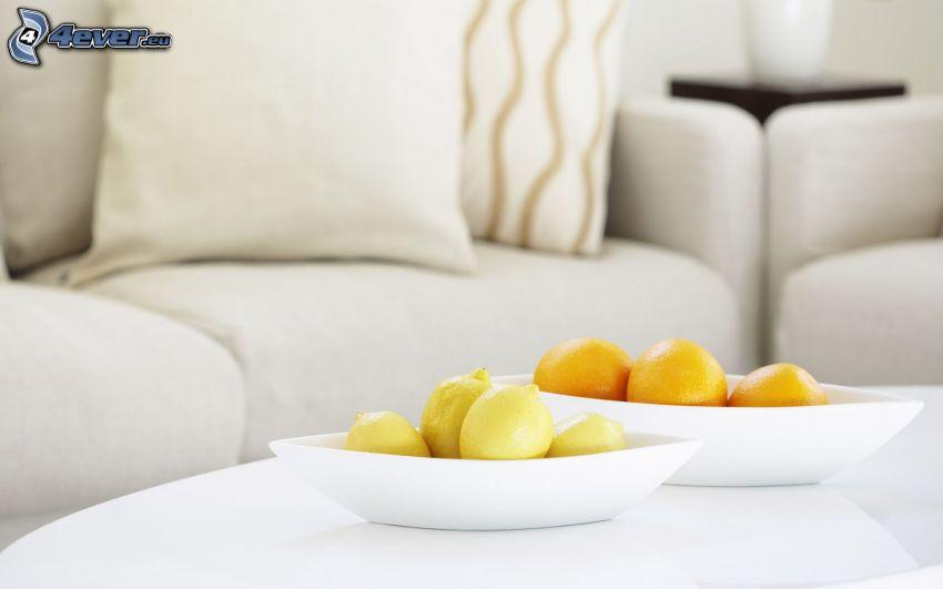 apelsiner, citroner, soffa