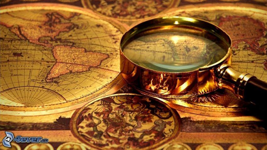 atlas, kartor, förstoringsglas