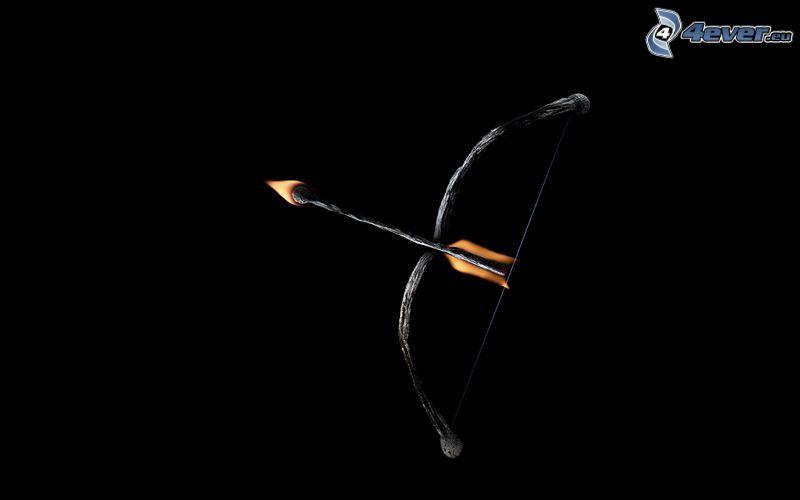 båge, pil, tändstickor, flammor