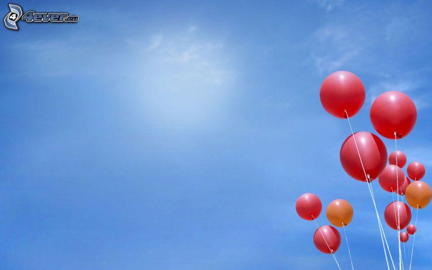 ballonger, blå himmel