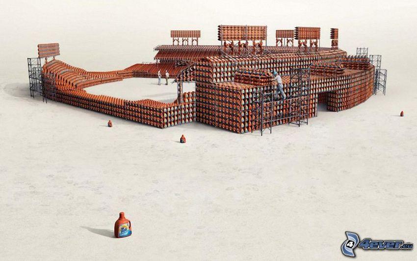 baseboll stadion, byggnad, arbetare