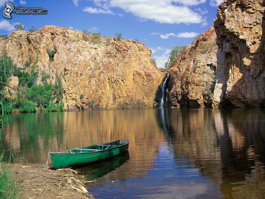 båt, sjö, klippor, vattenfall