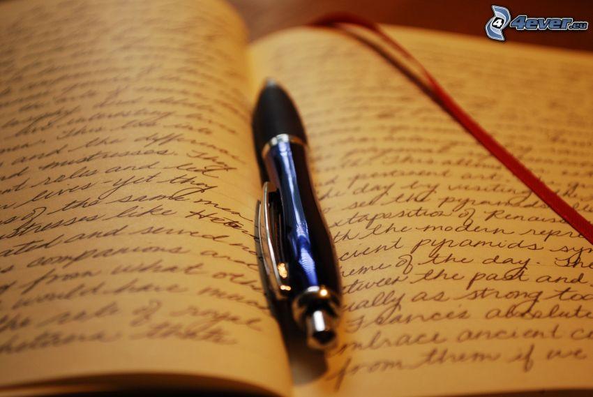 bläckpenna, skrivblock