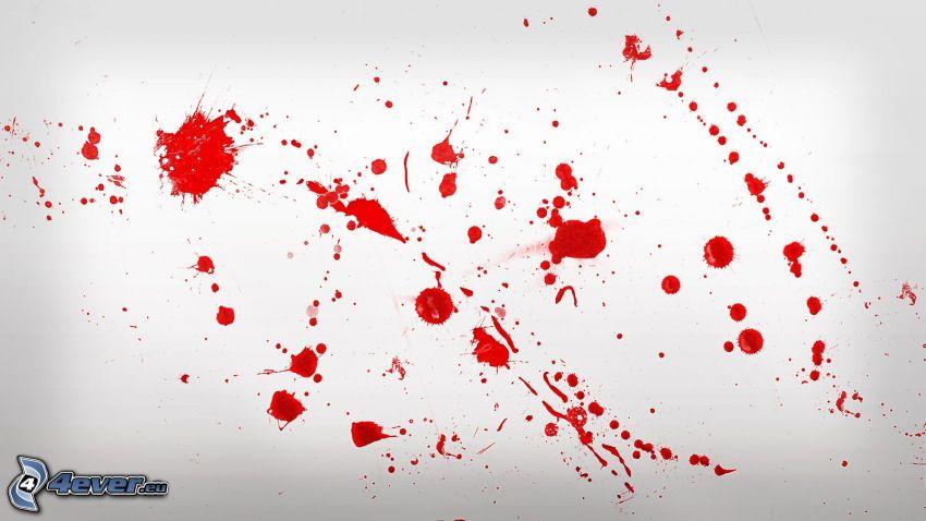 blod, röd färg, fläckar