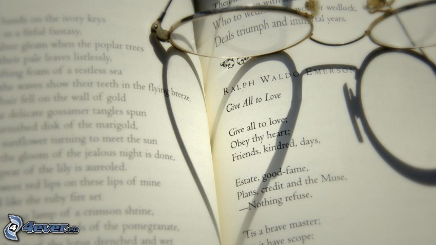 bok, glasögon, hjärta