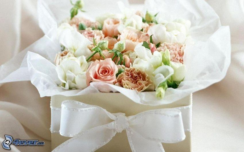 brudbukett, blommor, vit ros, present
