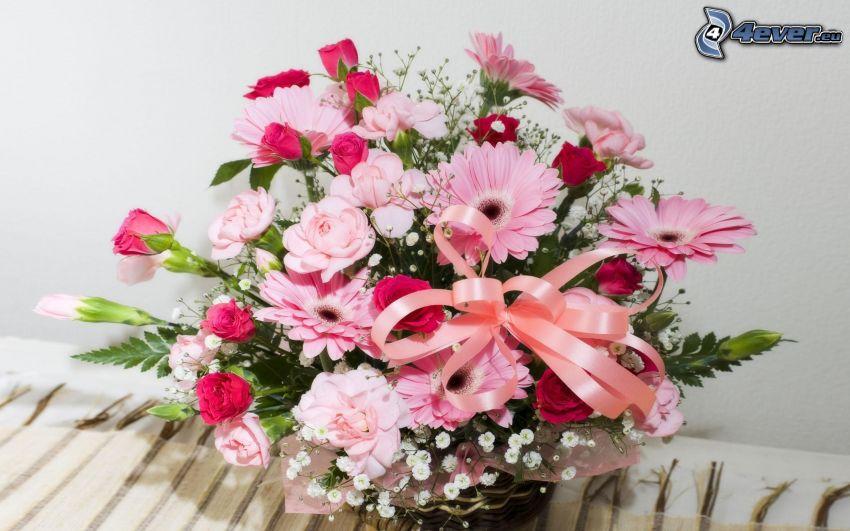 bukett, rosa blommor