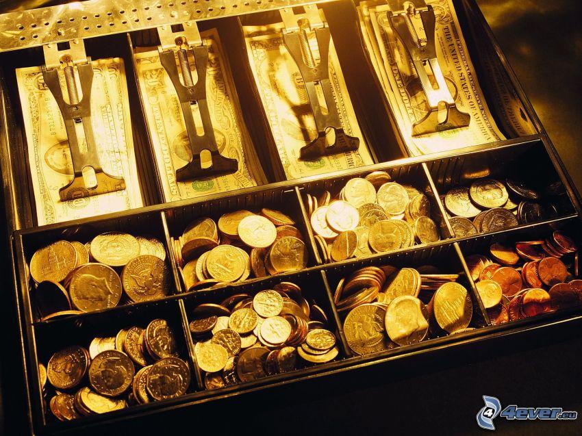 byrålåda, pengar, mynt, sedlar
