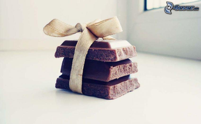 choklad, present, rosett