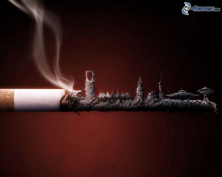 cigarett, byggnader, rök