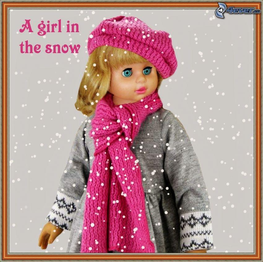 docka, halsduk, mössa, snöfall, bild