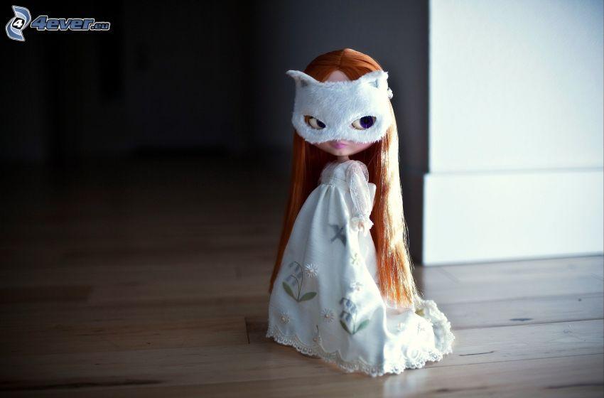 docka, mask, vit klänning