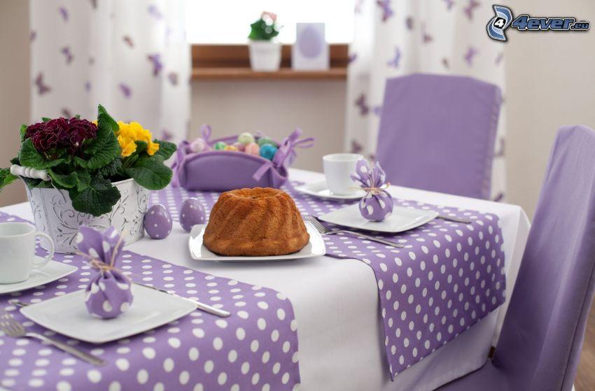 dukat bord, sockerkaka, lila