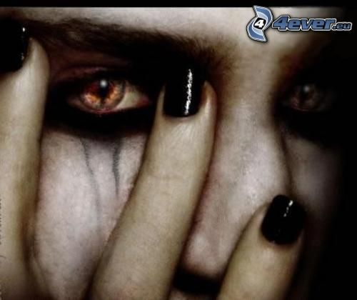 emo, blodiga ögon