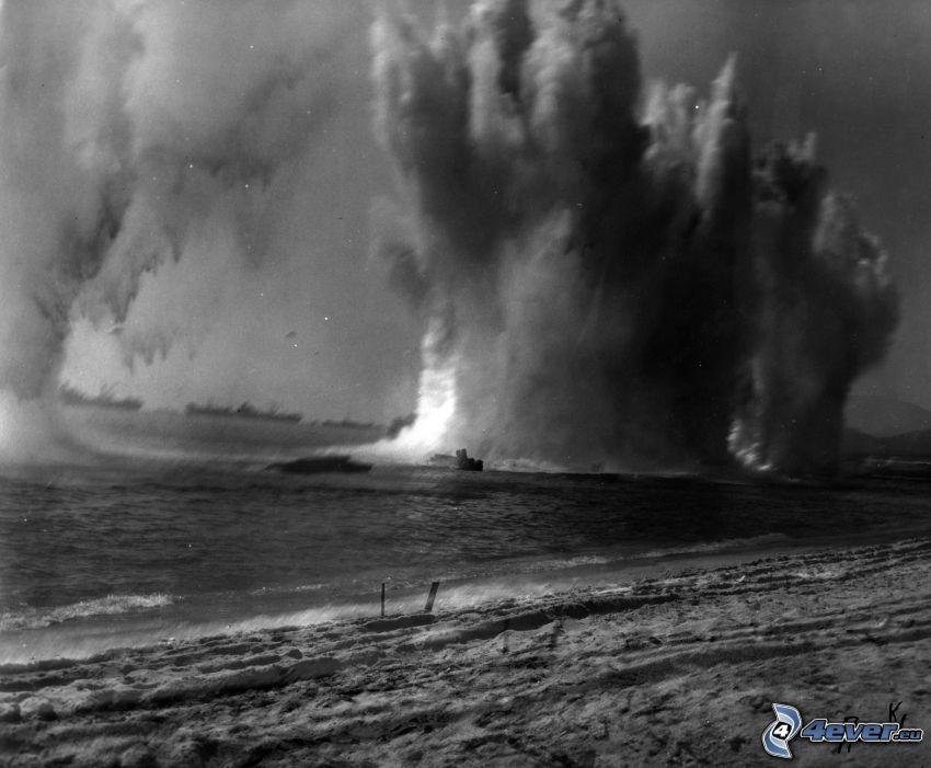 explosion, hav, gammalt foto