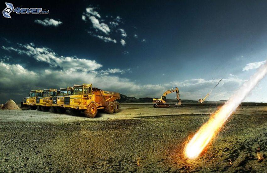 explosion, lastbil, grävmaskin