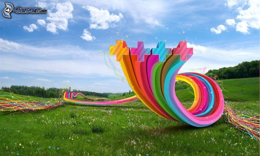färgade remsor, 3D, äng