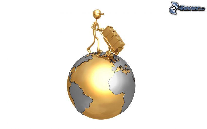 figur, kärra, lådor, planeten Jorden