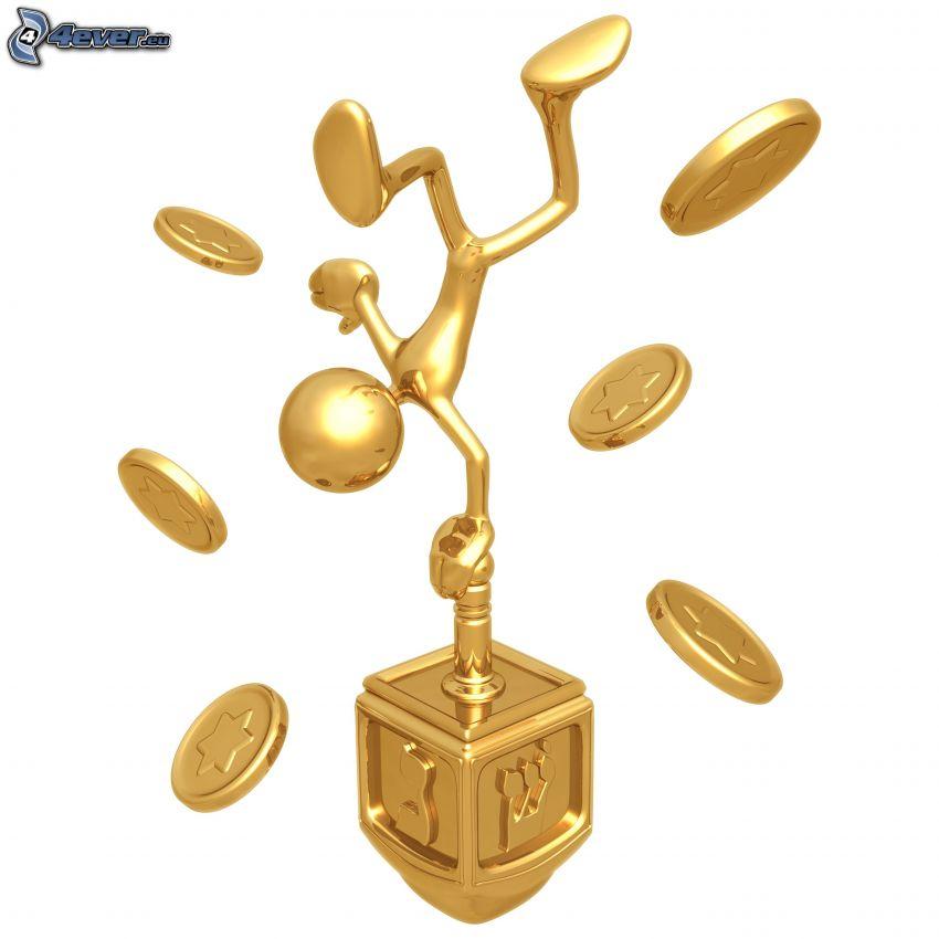 figur, ställ, mynt, judendom