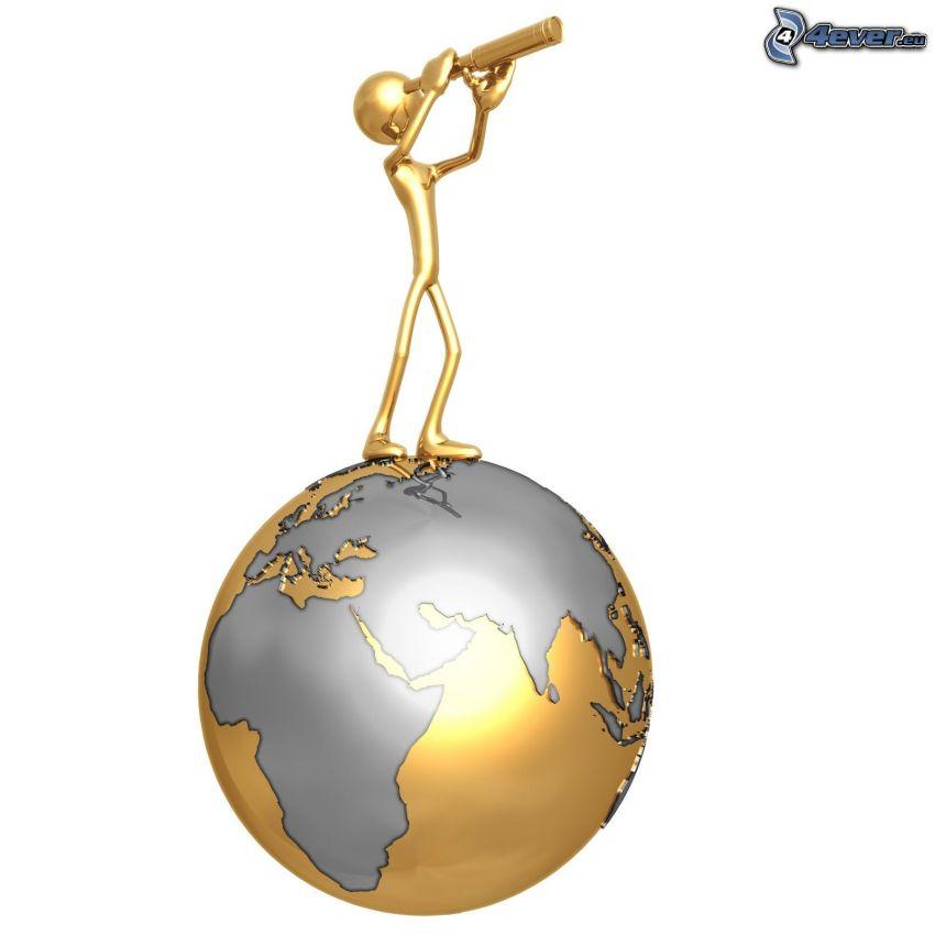 figur, teleskop, planeten Jorden