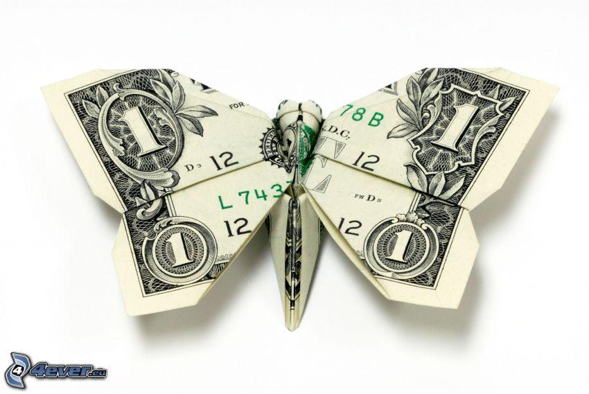fjäril, dollar