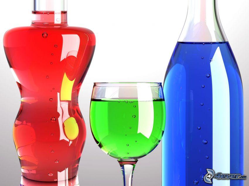 flaskor, glas, färgat