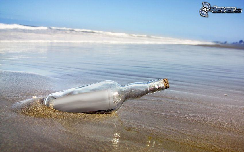 flaskpost, kust, hav