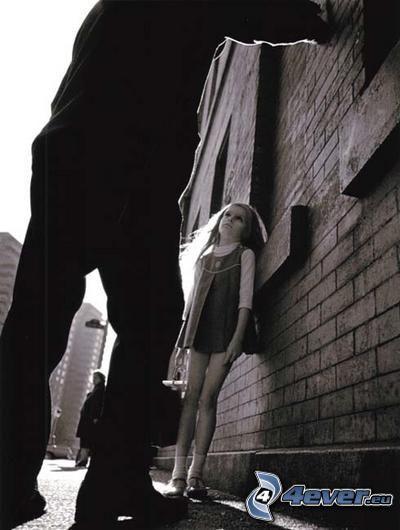 flicka, rädsla, onormal