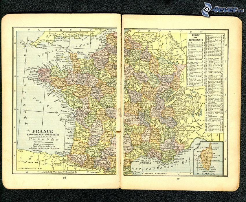 Frankrike, historisk karta, atlas