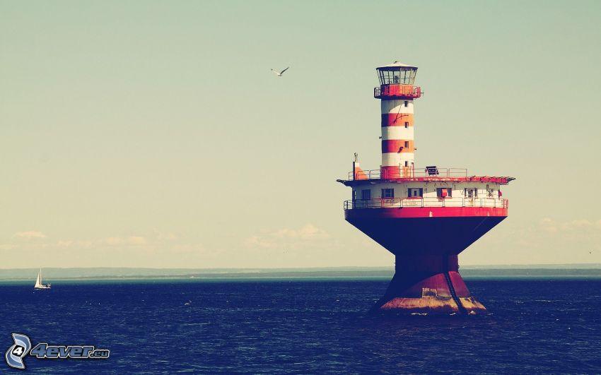 fyr på ö, hav