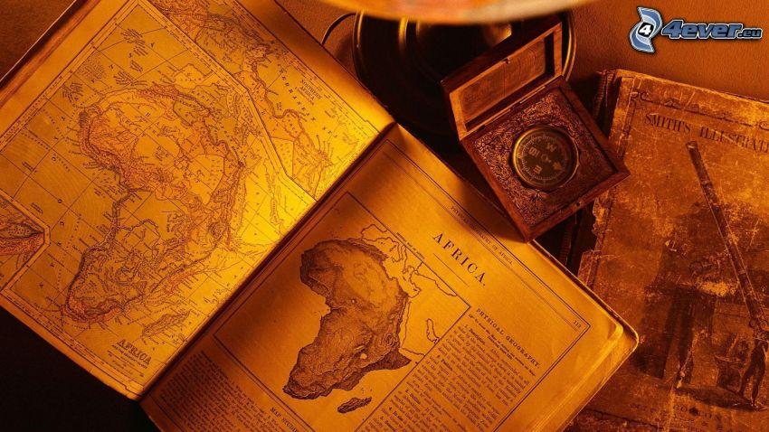 gamla böcker, Afrika, karta, kompass