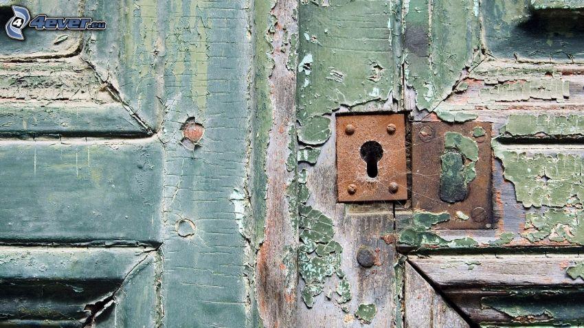 gammal dörr, nyckelhål