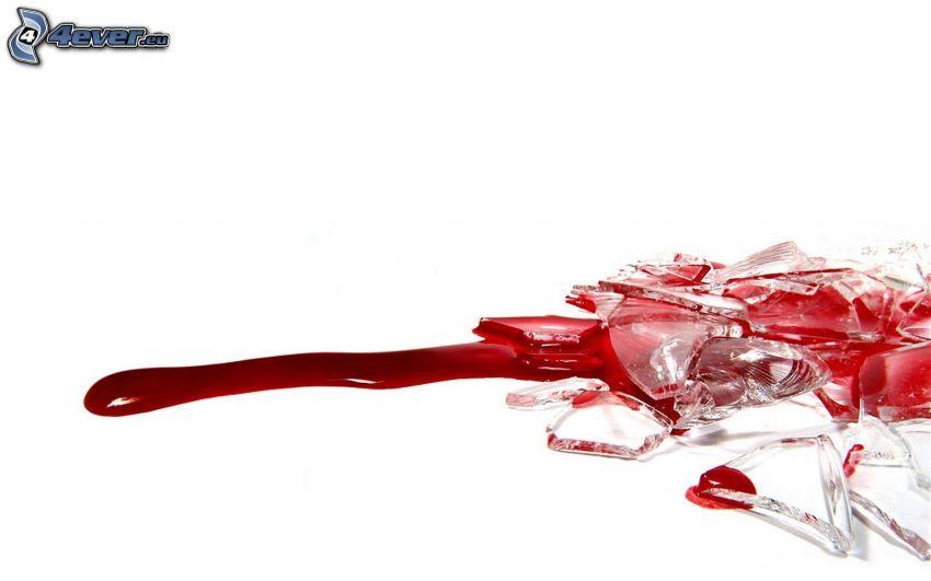 glas, blod