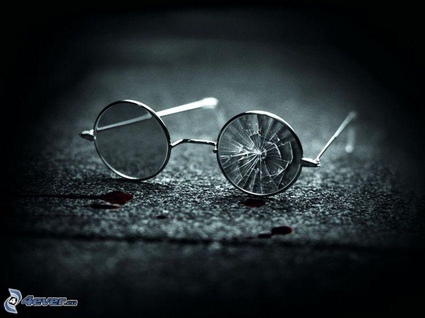 glasögon, krossat glas, svartvitt foto