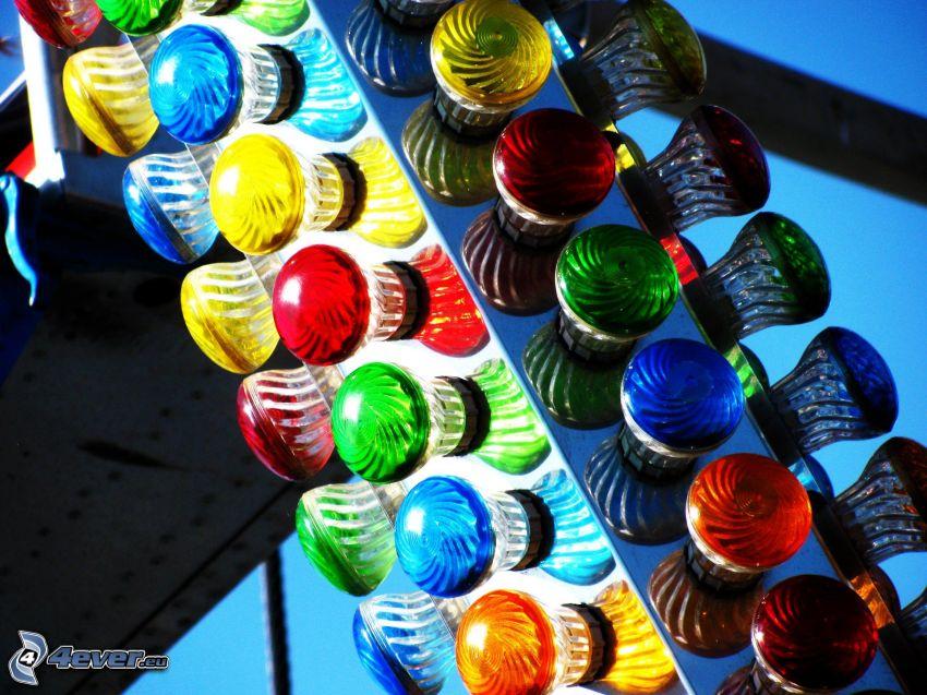 glödlampor, färgat, ljus