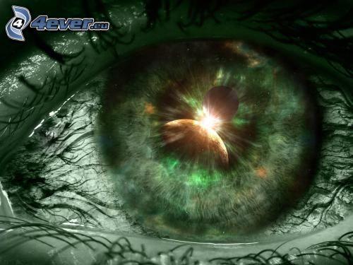 grönt öga, måne, spegling