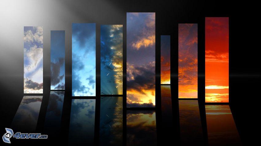 himmel, färggranna bilder