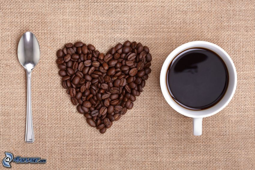 I love coffee, kaffebönor, hjärta, kaffekopp, sked