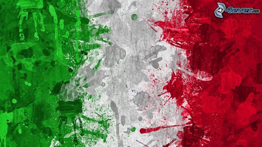 Italienska flaggan, grön, vit, röd, färger