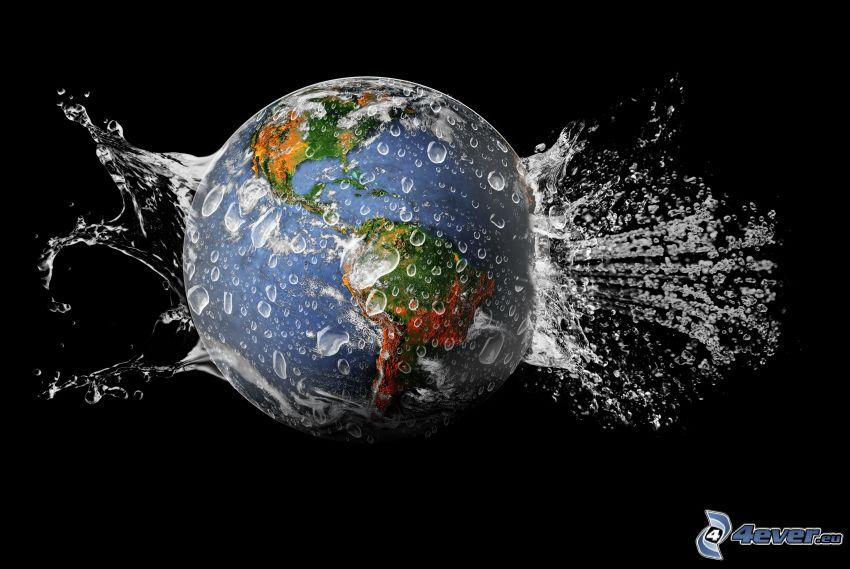 jordklot, vatten, plask, bubblor