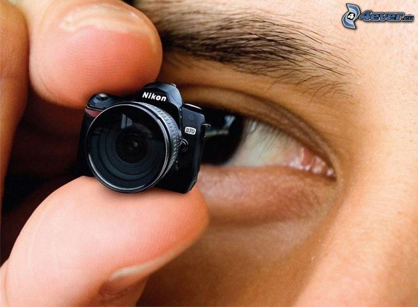 kamera, Nikon, miniatyr, öga, fingrar