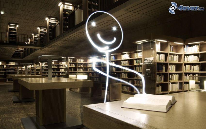 karaktär, bibliotek, lightpainting