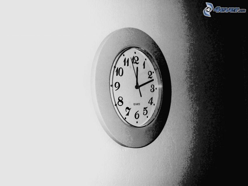 klocka, vägg