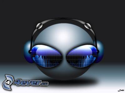 klot, solglasögon, hörlurar, Techno