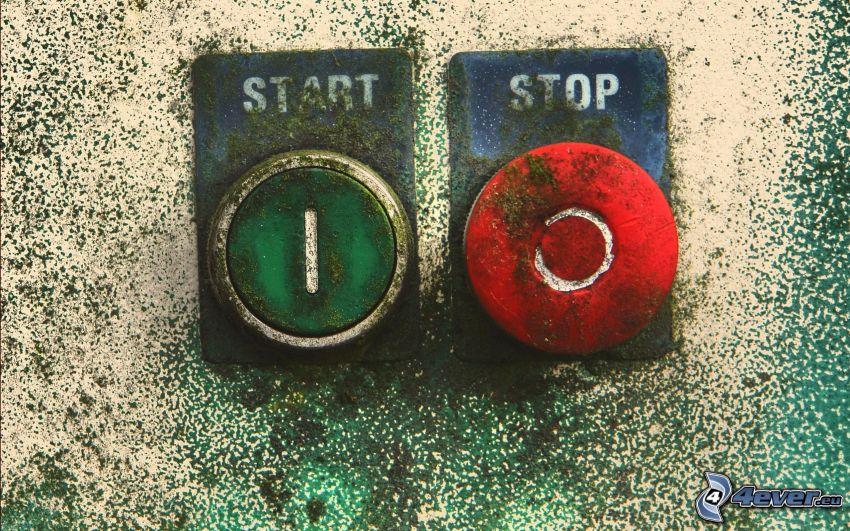 knappar, start, stop