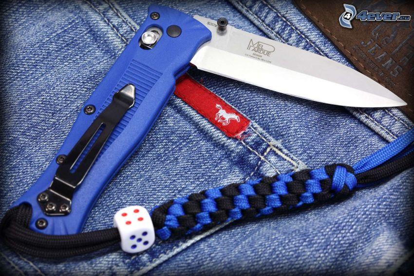 kniv, byxor
