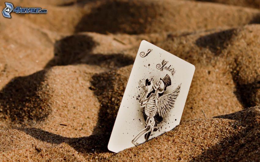 kort i sand, skelett