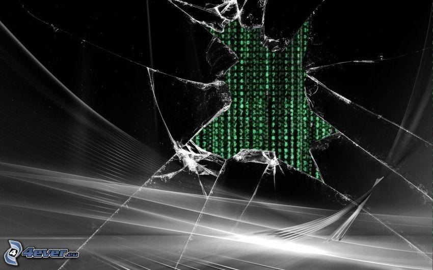 krossat glas, binär kod