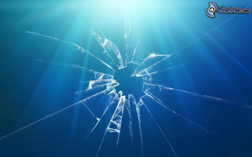 krossat glas, blå bakgrund